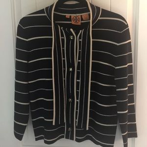 Tory Burch Striped Cardigan Sweater, Size Medium